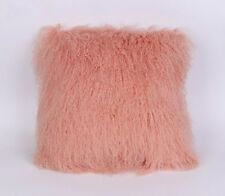 "Handmade Mongolian Fur 18""x18"" Square Pink Pillow Cushion 45X45cm & fabric back"