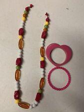 Gymboree Long Necklace Bracelet Orange Pink Lot Set Jewelry Accessory