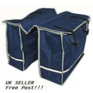 Double Bicycle Pannier Bag Blue TANDEM OR SOLO FRONT OR REAR RACK Twin PANNIER