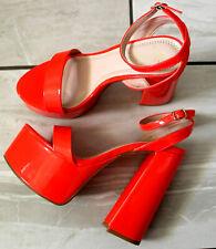 Señoras Neón Naranja Rojo Plataforma Super Zapatos De Tacones Altos Charol Club nocturno