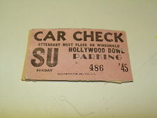 VINTAGE HOLLYWOOD BOWL CAR CHECK TICKET 1940'S