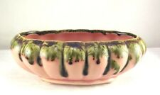 Mid Century Oval Planter Bowl Pink Green Drip Glaze Vintage