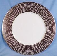 Calvin Klein Silver Texture Salad Plate Porcelain Matte Platinum Stones