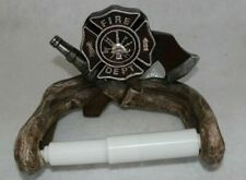 FIRE DEPARTMENT AXE AND HOSE TOILET PAPER HOLDER HOME DECOR.