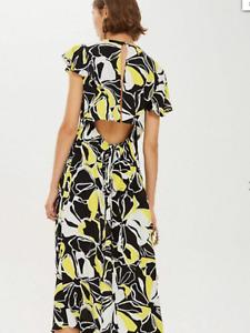 BNWT TOPSHOP Black Yellow Floral Cowl Back Flare  Midi Dress UK 6 £49