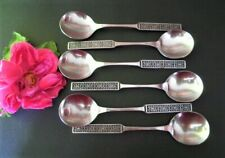 RETRO WILTSHIRE BURGUNDY SOUP SPOONS X6 STAINLESS STEEL SEE MORE LISTED