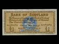 Scotland:P-102a,1 Pound,1961 * Medallion * Bank Of Scotland * VF *