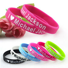 6x I Love Michael Jackson Silicone Wristbands MJ Rubber Bracelets Colorful