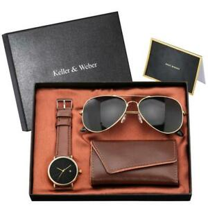 Cool Men's Quartz Wrist Watch with Black Sunglasses Key Package Gift to Husband