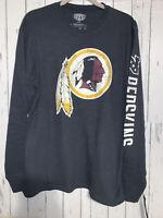 NFL Team Apparel Mens Medium Washington Redskins Jet Black Long Sleeve T-Shirt