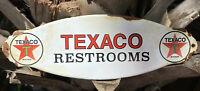 VINTAGE TEXACO RESTROOM PORCELAIN SIGN DOOR PLAQUE USA OIL GAS STATION PUMP LUBE
