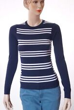 Theory Tommie FS Womens Blue White Wool Striped Pullover Sweater Top Petites P