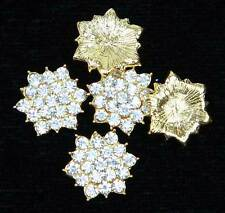 New Sparkly 5 Pcs Gold Clear Crystal Rhinestone Flatback Buttons Embellishments