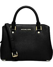 NEW Michael Kors Small Savannah Gold Black Saffiano Leather Satchel Handbag $298
