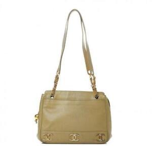 $3500 Chanel Caviar Beige Leather Shoulder Bag Shopping Tote Logo CC