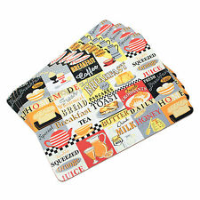 Set of 4 Breakfast Cork Placemats Dining Place Settings Table Mats Retro Diner