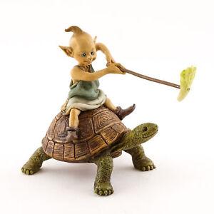 Miniature Dollhouse FAIRY GARDEN - Garden Pixie Riding on Turtlle - Accessories