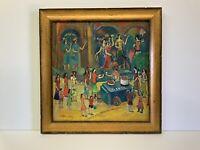 "Original Oil Painting On Canvas Signed Armenian Artist framed 19x19"" Village"