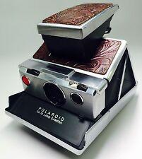 "Polaroid SX-70 Dark Cognac  Embossed Italian ""Western Floral"" PolaSkinz SLR680."