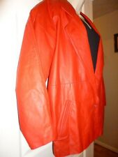 Red Leather Over-sized Jacket/Coat Raglan Sleeves Small-Medium Fits over Sweater