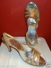 Womens Vintage Amano High Heels Hand Made Metallic Silver & Leather Size 8