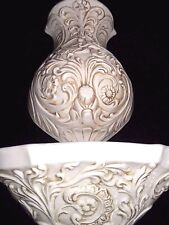 "VINTAGE Large Ceramic WALL Pocket 16"" Vase FOUNTAIN & 14.5"" BOWL Home Interior"