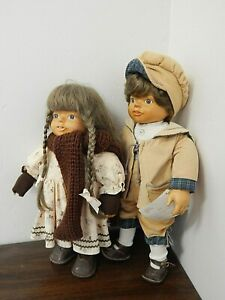 """Lot of 2 PETER & RUTH  17"""" & 15"""" Camelot Handcrafted Wood Dolls w/Cloth Bodies"""