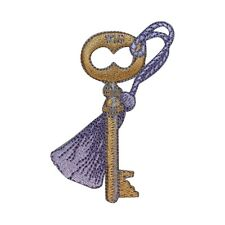 ID 3206 Skeleton Key Embroidered Iron On Applique Patch