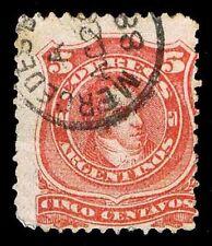 1867-68 ARGENTINA #18 RIVADAVIA - USED - F - CV $17.50 (ESP#9759)