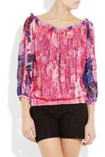 ROBERTO CAVALLI Pink Floral Printed silk-chiffon top Size I 38 UK 6 US 2 XS