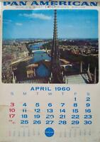 PAN AM AIRWAYS AIRLINES CALENDAR 1960 Vintage 13 pages TRAVEL poster 17x24