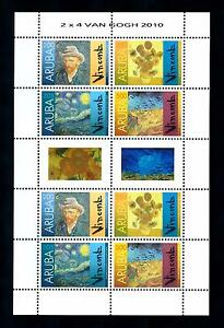 [ARV450] Aruba 2010 Vincent van Gogh Dutch Painter Miniature sheet with tab MNH