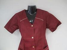Damenkittel  Kittel  Schürze  Berufskleidung  1/2 Arm Gr. 40   weinrot *2*