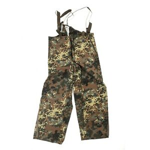 German Army Waterproof Trousers Pants Bib & Brace Goretex Over Flecktarn Camo