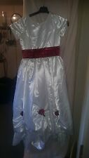 VINTAGE ? PARTY /BRIDESMAID DRESS CHILDS WHITE / BURGANDY ROSE TRIM/BOW 26 CHES