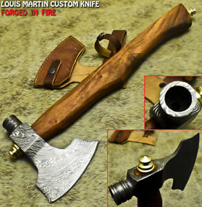 Louis Martin Handmade Damascus Walnut Wood Tomahawk Hunting Axe Knife with Pipe