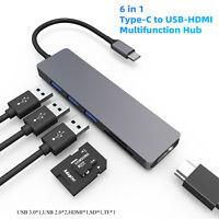 USB 3.0 Hub HDMI Type-C TF SD 6 Port Multi-function Splitter High Speed Adapter
