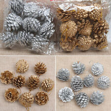 9PCS Christmas Gold Pine Cones Baubles Xmas Tree Decorations Ornament Gift WOW