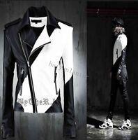 Fashion Men PU Leather Motorcycle Biker Coat Punk Clubwear Slim Fit Jacket Parka