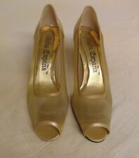 Vintage Women's Moda Espana High Heel Shoes, Gold, Netted, Size 6-1/2M