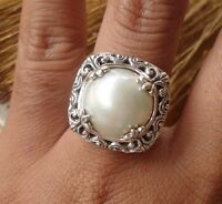 925 Solid Silver Balinese Mabe Pearl Ring Round Plain Size 7-76H