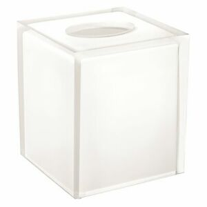 Cubix White Collection, Resin Boutique Tissue Box Cover, Clear/White Accent