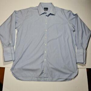 Aquascutum Mens Shirt Blue and White Stripes 17.5 Long Sleeved Double Cuff