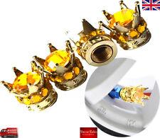 Corona Dorada Diamante Amarillo Coche Rueda Tapas Antipolvo Válvula de Neumático