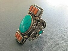 VINTAGE NATIVE TRIBAL SILVER TURQUOISE & CORAL SADDLE RING SIZE 8 j087