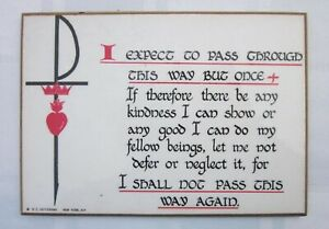 William Penn Quote Laminated Plaque Sword Crown Heart RC Heffernan NY 1970's