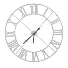 Extra Large 122cm Distressed White Metal Iron Roman Numeral Clock Unique