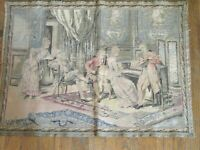 "Antique French Tapestry 20"" by 27"" 18th Century MUSIC ROOM Gathering Audience"