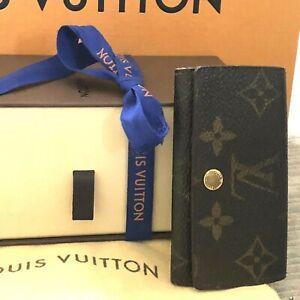 Authentic LOUIS VUITTON 4 Key Ring Monogram Canvas Holder Case   No Reserve