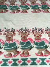 "IBENA Throw Blanket Christmas Reindeer On Skates Red Green 54"" x 75"""